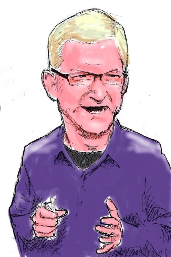 Tim Cook Stage Cartoon
