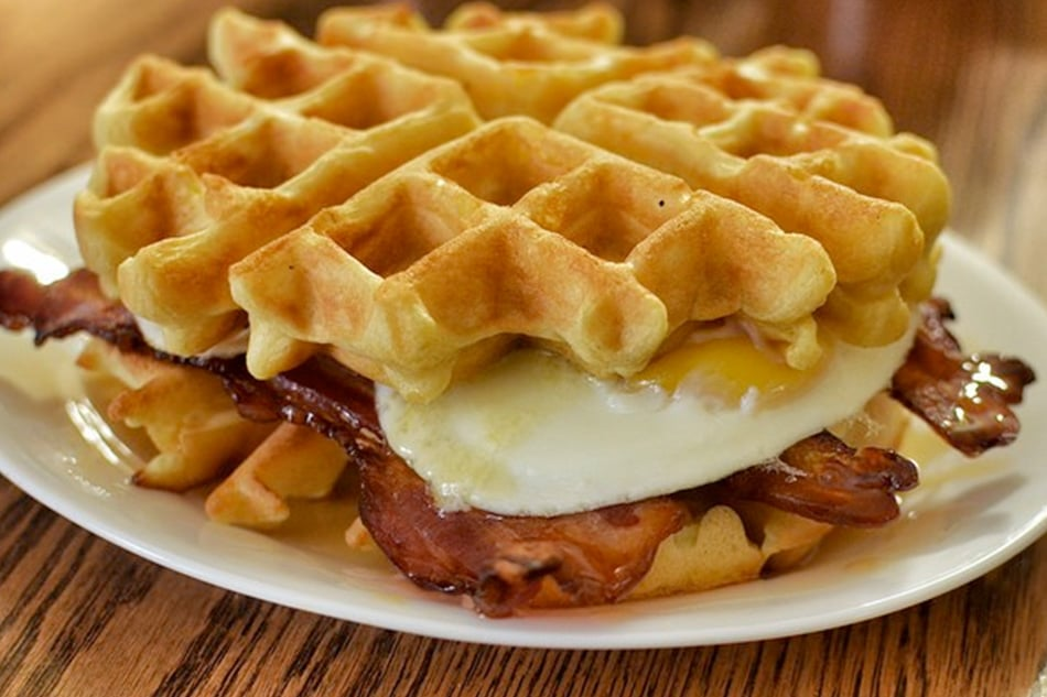 Eggs And Bacon Waffles