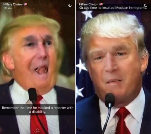 Trump Hillary Snapchat 0