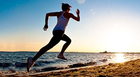 Woman Running Pace Beach